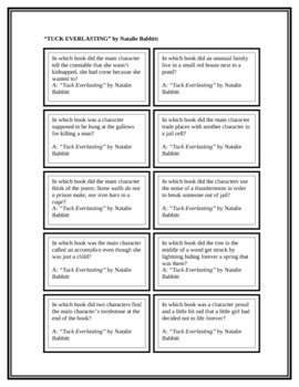"""Battle of the Books Questions: """"Tuck Everlasting"""""""