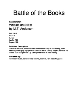 Battle of the Books Questions - Whales on Stilts!