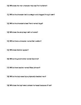 Battle of the Books Questions and Answer Key (Middle School) - Fall 2014
