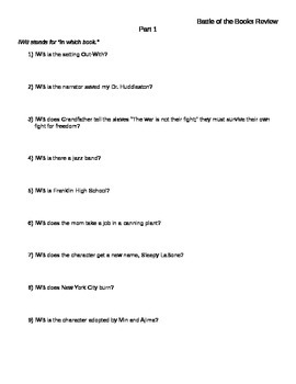 Battle of the Books Questions and Answer Key (Middle Schoo