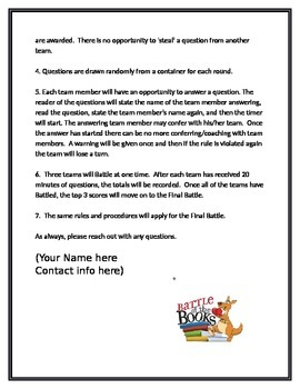 Battle of the Books Rules
