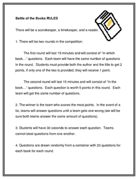 Battle of the Books Rules:  FREE
