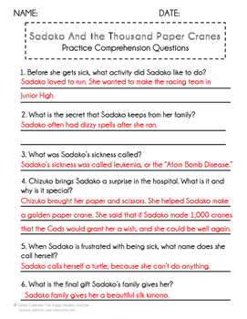 Battle of the Books Sadako and the Thousand Paper Cranes Summaries and Questions