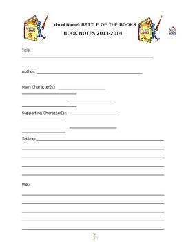 Battle of the Books Study Sheet