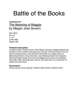Battle of the Books - The Meaning of Maggie
