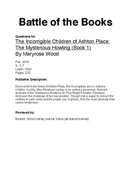 Battle of the Books - The Mysterious Howling