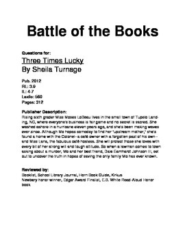 Battle of the Books - Three Times Lucky