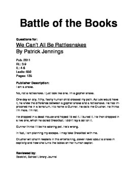 Battle of the Books - We Can't All Be Rattlesnakes
