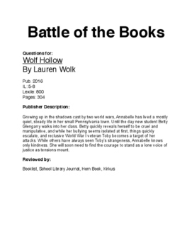 Battle of the Books - Wolf Hollow