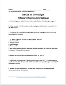 "Battle of the Bulge World War II Primary Source Worksheet ""NUTS"" Response"