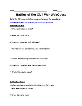 Battle of the Civil War WebQuest