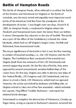 Battle of the Ironclads Monitor and Merrimack - Hampton Roads Handout