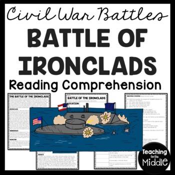 Battle of the Ironclads Reading Comprehension Worksheet, Civil War, Hampton