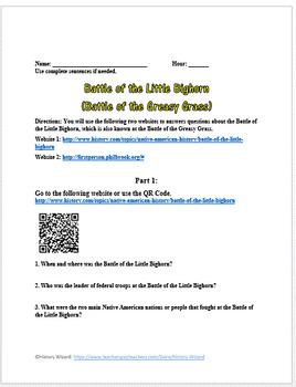 Battle of the Little Bighorn (Battle of the Greasy Grass Webquest)
