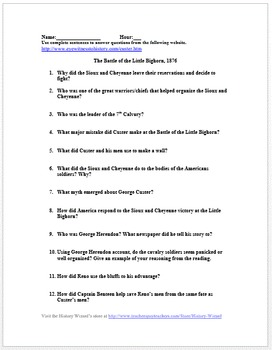 Battle of the Little Bighorn Primary Source Worksheet