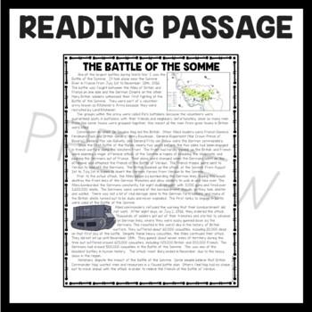 Battle of the Somme World War I Reading Comprehension Worksheet WWI
