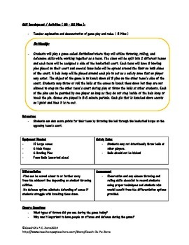 BattleBowl: Throwing and Catching Skills Game P.E. Lesson and Diagram
