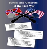 Battles and Generals of the Civil War BINGO