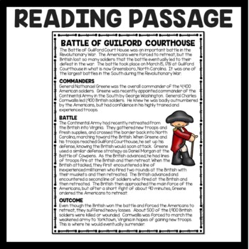 Battle of Guilford Courthouse Reading Comprehension; American Revolution