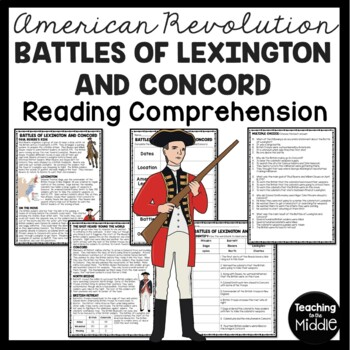 Battles of Lexington and Concord Reading Comprehension; American Revolution