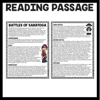 Battles of Saratoga Reading Comprehension; American Revolution