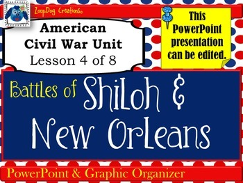 Battles of Shiloh and New Orleans PowerPoint and Graphic Organizer