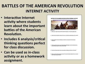 Battles of the American Revolution Internet Activity - USH/APUSH