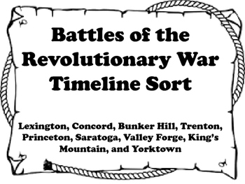 Battles of the Revolution Timeline Sort
