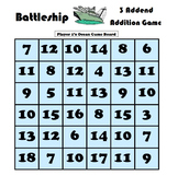 Battleship 3 Addend Math Game Bundle - Modeling Flipchart Included!
