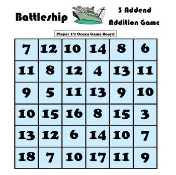 Battleship 3 Addend Math Game Bundle - Modeling Flipchart