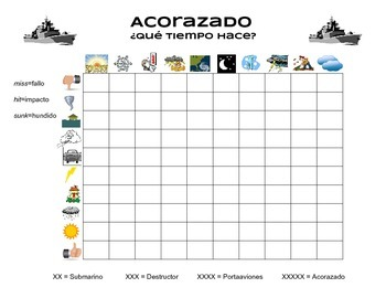 Battleship / Acorazado - Spanish Weather Vocabulary Game