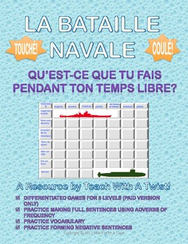 French Battleship - Adverbs of Frequency - Bataille Navale (FREE)
