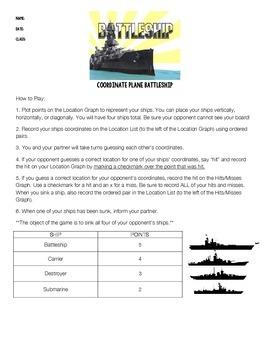 Battleship! Coordinate Graphing Activity on 4 Quadrants Grid