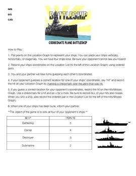 Battleship! Coordinate Graphing Activity on Quadrant 1 Grid