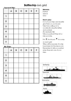 Battleship Coordinates Grid Reference Game