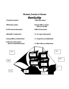 Battleship Game: Decimals, Fractions, and Percents