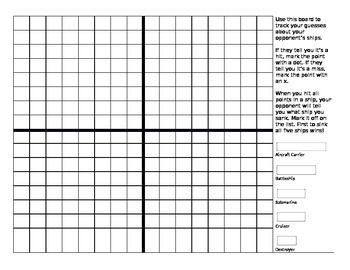 Battleship Game - Graphing Points on the Coordinate Plane