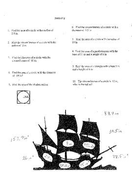 Battleship Game (shape area and circumference)