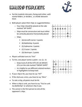 Battleship Rules - Rules for Battleship Game (SEPERATE PRODUCT)   TpT