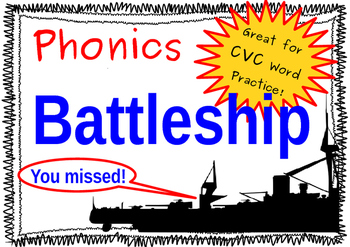 Battleship! Short Vowel Phonics Game, Making CVC Words