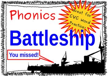 "Battleship! Short ""a"" Phonics Game, Making CVC Words"