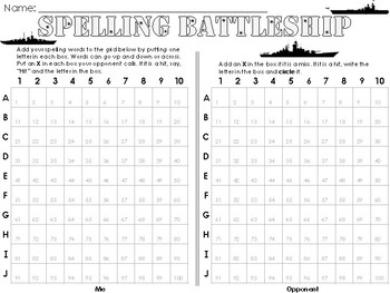 Battleship Sight Word Spelling Word Game