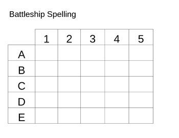 Battleship Spelling Template