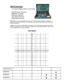 Battleship coordinate graphing game