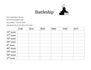 Battleship for number pronunciation