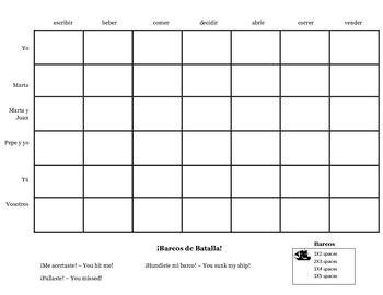 Battleship regular -er/-ir verb conjugation game practice activity, any tense
