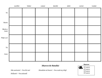 Battleship regular -er/-ir verb conjugation game practice activity, any tense