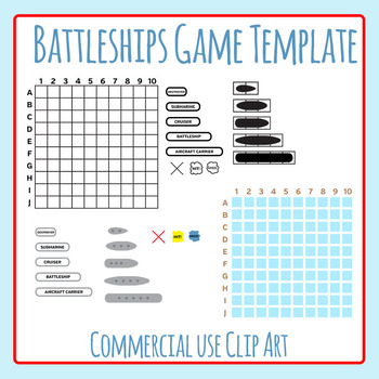 photo regarding Battleship Game Printable named Battleship Template Worksheets Instruction Elements TpT