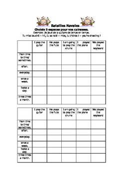 French Teaching Resources. Battleships/ Lotto Grid: Musical Instruments