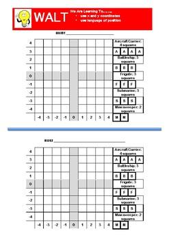 Battleships coordinated cartesian plane gameboard